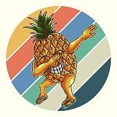 pineapple dabbing retro vector illustration