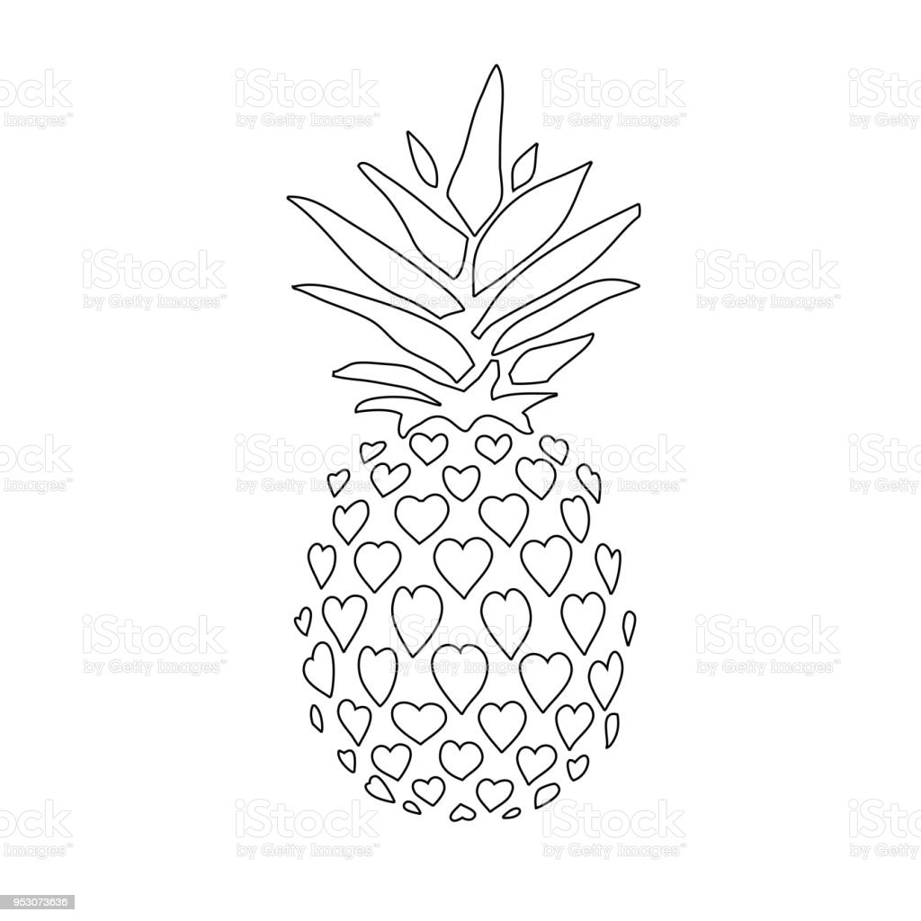 Pineapple Doodle Icon Isolated On White Background Stock ...