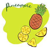 pineapple, doodle, postcard, packaging, banner, green background, vector image