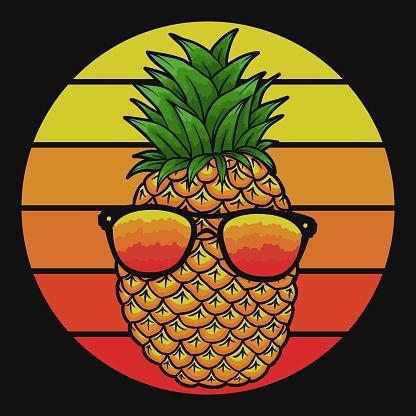 pineapple eyeglasses sunset vector illustration