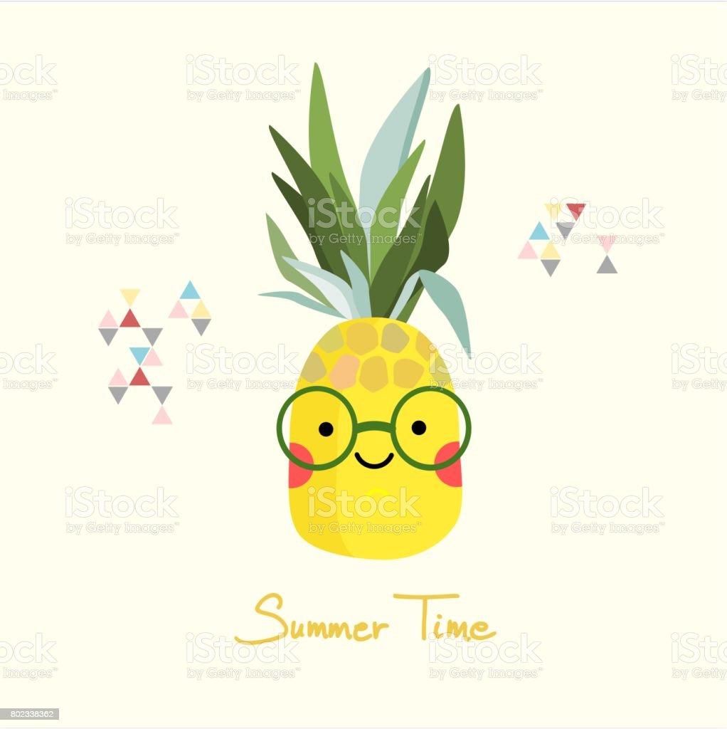 ananasgesicht mit brille stock vektor art und mehr bilder