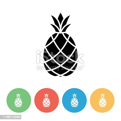 Flat design fruit icon in black and on colored circle bases.