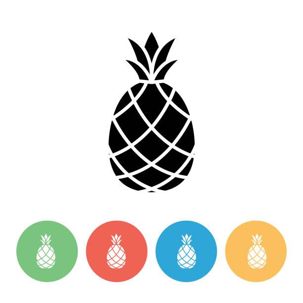 Pineapple Flat Design Fruit Icon vector art illustration