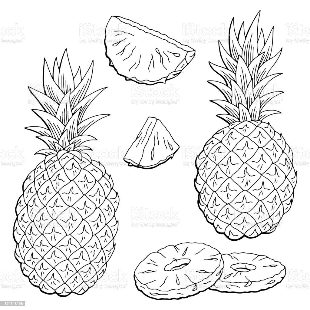 Ananas Meyve Grafik Siyah Beyaz Izole Eskiz Illüstrasyon Vektör Stok