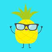 Pineapple fruit icon leaf wearing glasses. Hands up, legs. Cute cartoon kawaii smiling funny baby character. Sunglasses. Hello summer. Greeting Card. Flat design. Blue background. Vector illustration