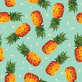 Pineapple fruit summer background in low poly