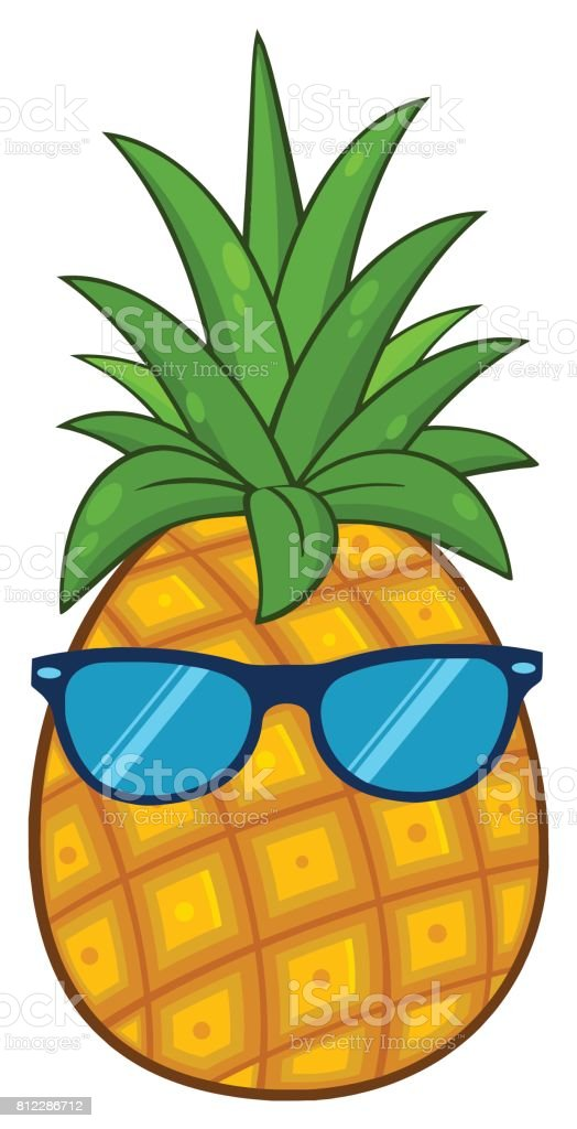 Pineapple Fruit With Green Leafs Cartoon Drawing Simple
