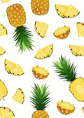 Pineapple fruits and slice seamless pattern on white background. Summer background. Ananas fruits vector illustration.
