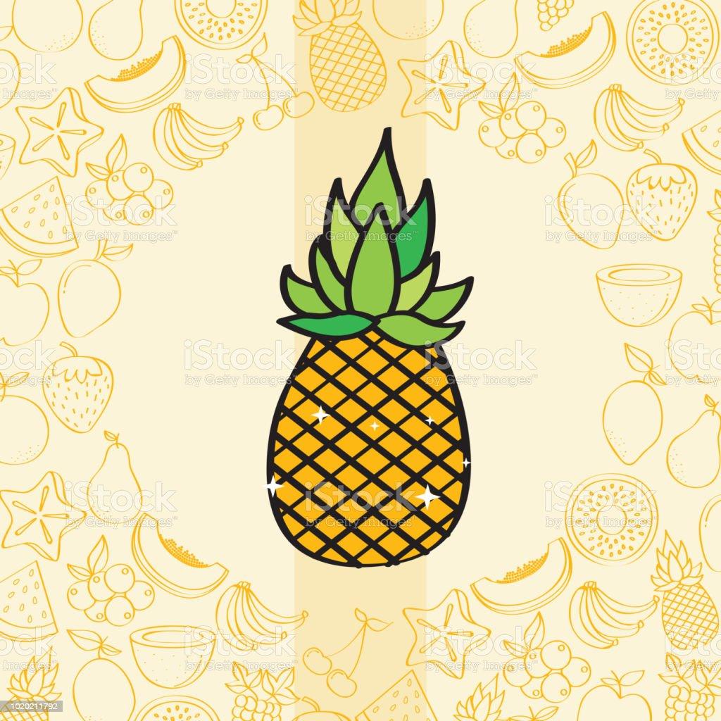 Ilustración De Patrón De Fondo De Nutrición Piña Frutas