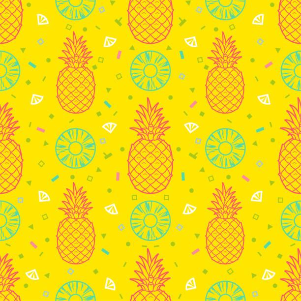 illustrazioni stock, clip art, cartoni animati e icone di tendenza di pineapple fruits seamless pattern background vector format - ananas