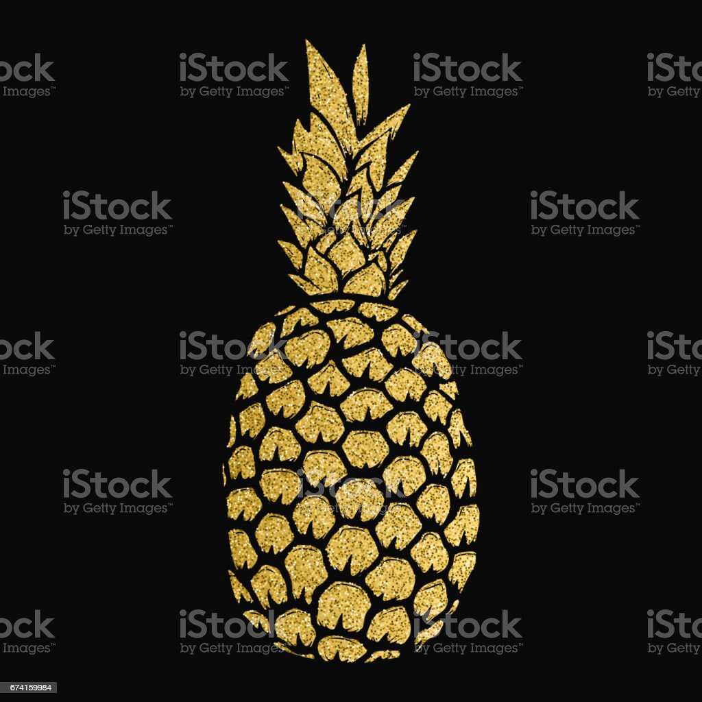 pineapple gold illustration isolated on white background. Design elements for label, emblem, sign, menu. – artystyczna grafika wektorowa