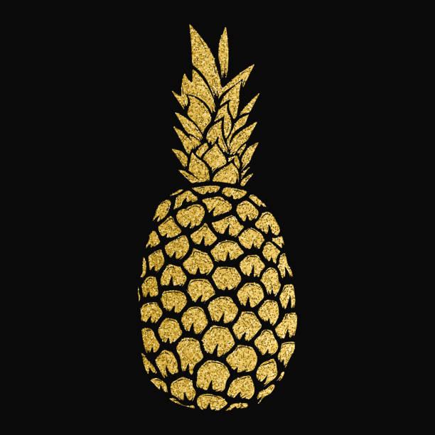 pineapple gold illustration isolated on white background. Design elements for label, emblem, sign, menu. – artystyczna grafika wektorowa
