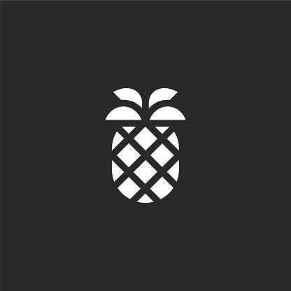 pineapple icon. Filled pineapple icon for website design and mobile, app development. pineapple icon from filled summer collection isolated on black background.
