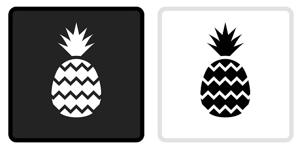 Pineapple Icon on  Black Button with White Rollover