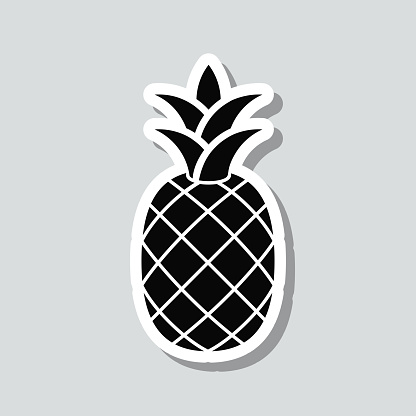 Pineapple. Icon sticker on gray background