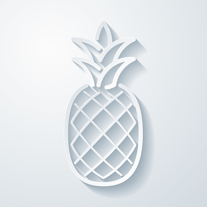 Pineapple. Icon with paper cut effect on blank background