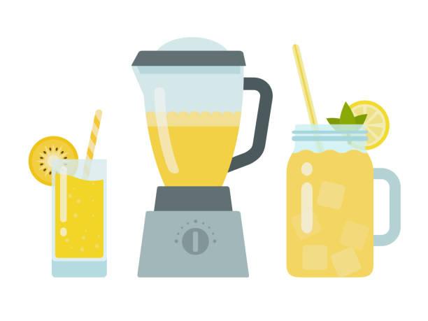 stockillustraties, clipart, cartoons en iconen met ananassap in een glas, ananassap in een blender en gele cocktail in een pot vector plat geïsoleerd - mixer
