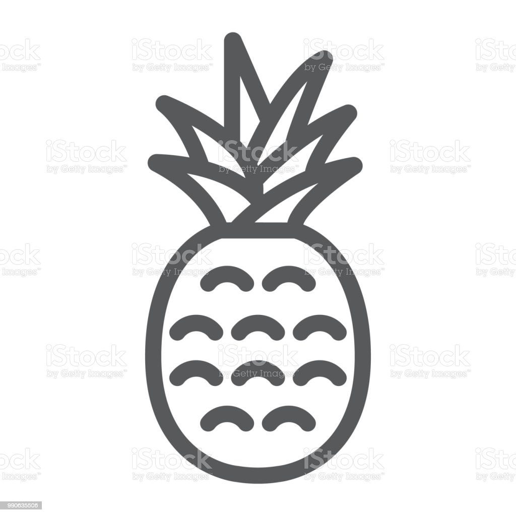 Pineapple Line Icon Fruit And Ananas Tropical Sign Vector