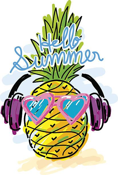 Top 60 Pineapple And Sun Glasses Black Cartoon ...
