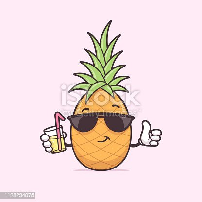 Pineapple with sunglasses drinking cocktail drink vector cartoon illustration