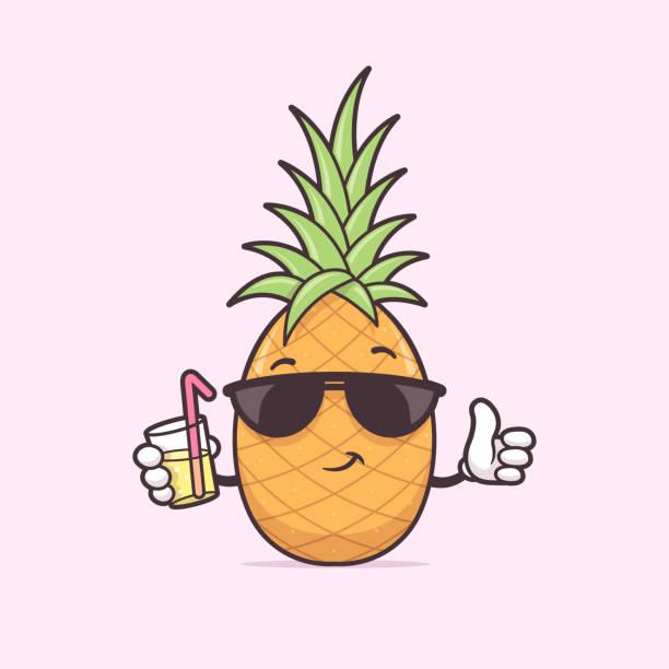 illustrazioni stock, clip art, cartoni animati e icone di tendenza di pineapple mascot - ananas