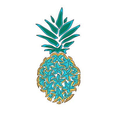 Pineapple of sea stars. Pineapple hand drawn vector illustration isolated on white, logo, t-shirt design