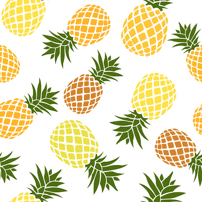 pineapple, orange and yellow abstraction background seamless pattern