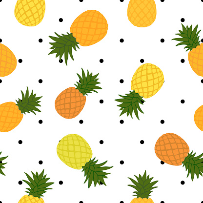 pineapple, orange and yellow ripe and green with polka dots background seamless pattern