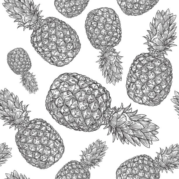 Pineapple Pattern vector art illustration