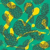 Pineapple pattern with splashy background. Separated to layers, global colours are easy to change!