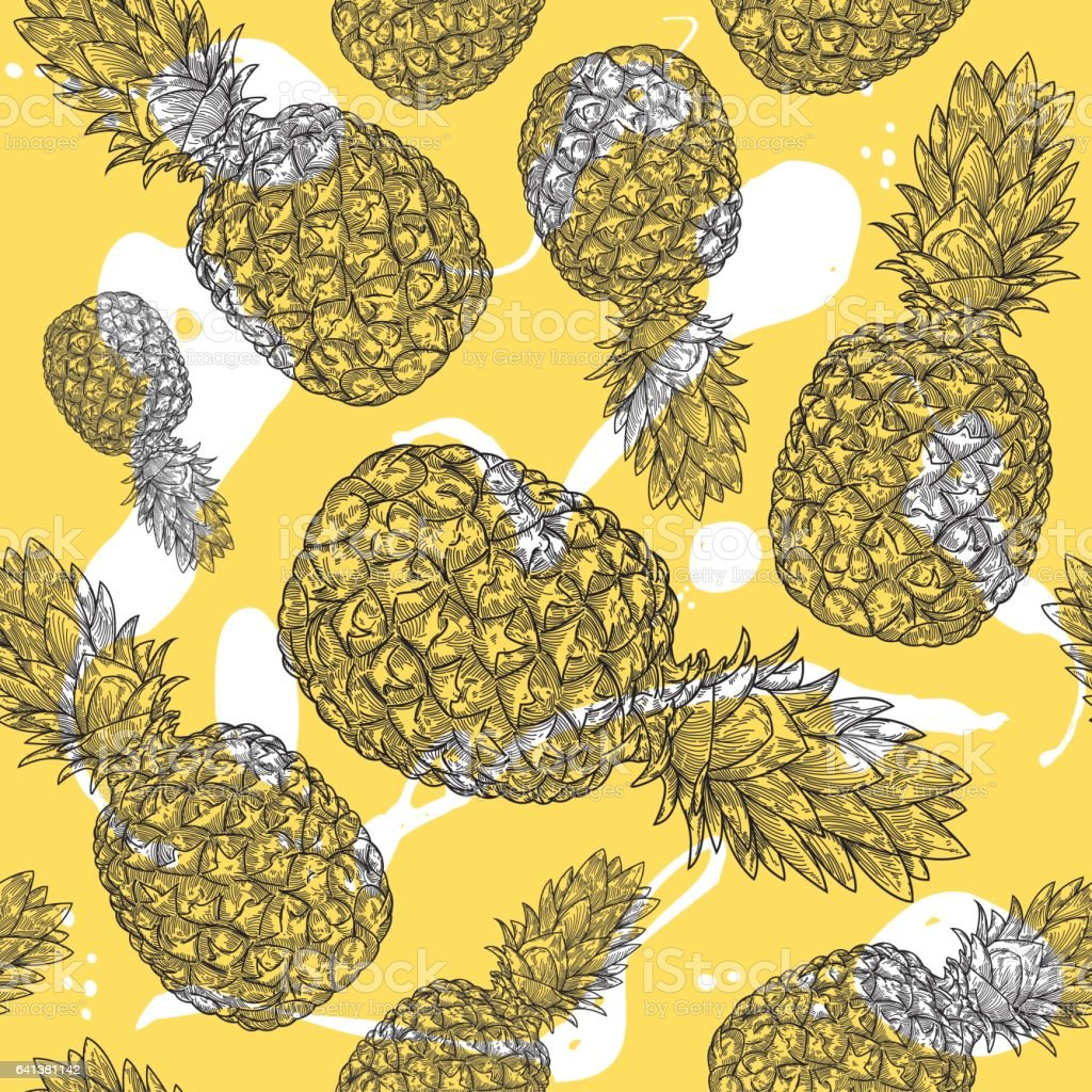 Pineapple Pattern vector art illustration