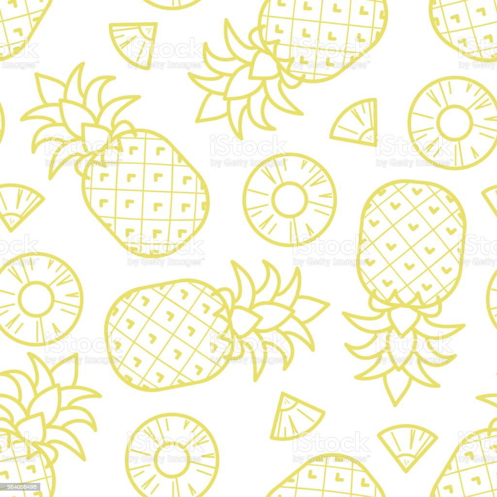 Pineapple random on white background. - Royalty-free Art stock vector