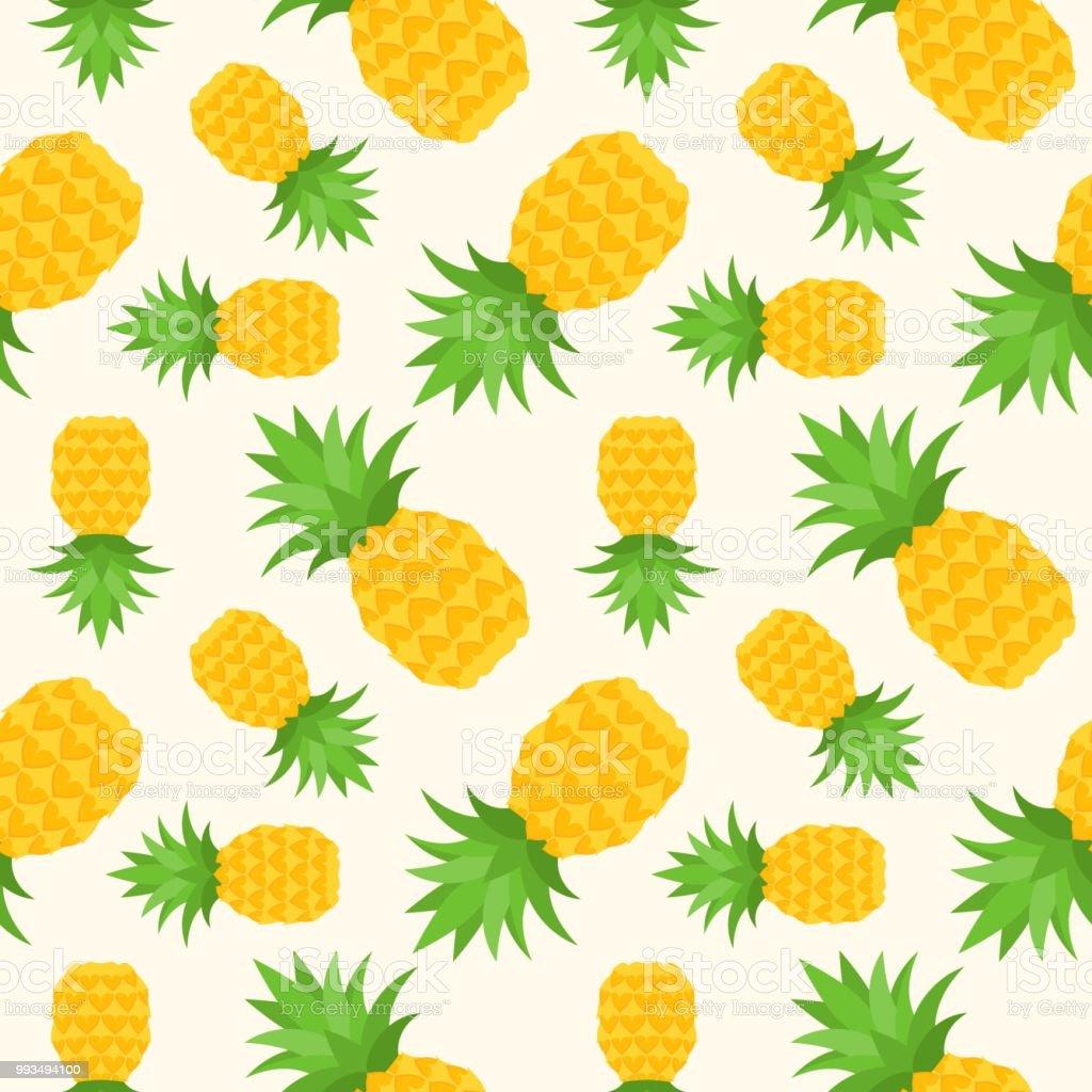 パイナップルのシームレスなパターンフラットなデザインの夏トロピカル