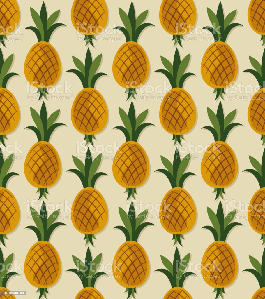 Pineapple Seamless Pattern Fruit Patterns Texture Fabric Wallpaper Minimal Style Raw Materials Fresh Fruits Stock Illustration Download Image Now Istock