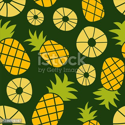 Pineapple seamless pattern. Hand drawn fresh slice of ananas. Vector sketch background. Color doodle wallpaper. Exotic tropical fruit. Fashion design. Food print for kitchen tablecloth, curtain or dishcloth