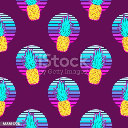 917861766istockphoto Pineapple seamless pattern on an abstract geometrical background. Vector illustration. Dark background. 868854226