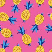 Pineapple seamless pattern. Fruit patterns, texture fabric, wallpaper, minimal style, raw materials, fresh fruits, vector stock. Stock illustration