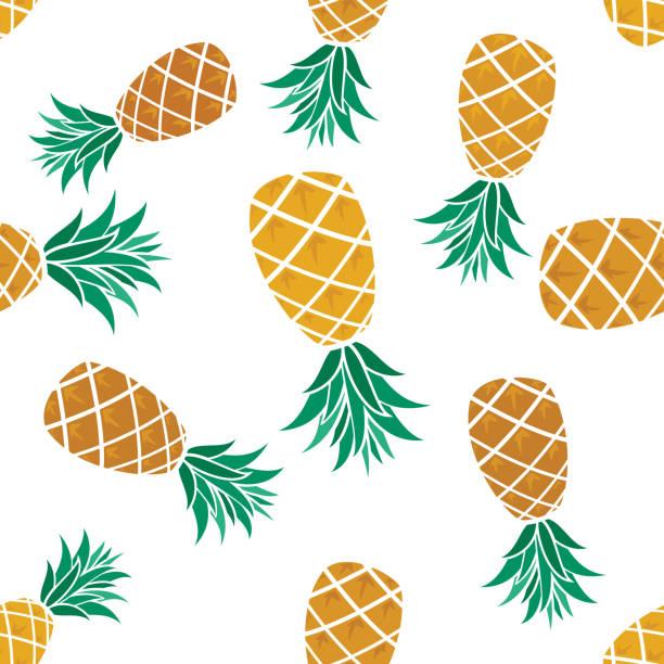 Pineapple Seamless Pattern vector art illustration