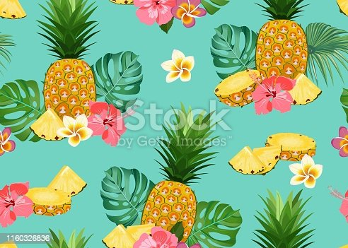 Pineapple seamless pattern whole and slice with tropical flower and leaves on green background. Summer background. Ananas fruits vector illustration.