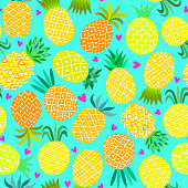 Pineapple seamless pattern. Yellow summer background isolated on white