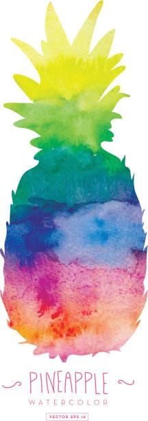 illustrazioni stock, clip art, cartoni animati e icone di tendenza di pineapple silhouette watercolor texture - ananas