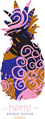 Pineapple silhouette with doodle abstract texture