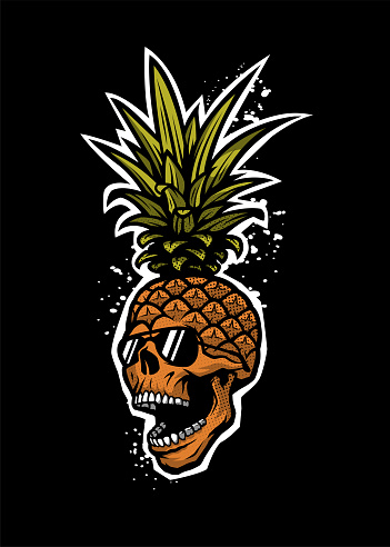 Pineapple skull in a sunglasses, tee shirt graphics on a dark background. Vector illustration.