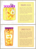Pineapple slices and canned peaches posters set with text. Conserved fruits preservation of sweet desserts. Homemade jam in jars with tags vector