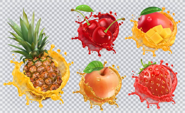 Pineapple, strawberry, apple, cherry, mango juice. Fresh fruits and splashes, 3d vector icon set Pineapple, strawberry, apple, cherry, mango juice. Fresh fruits and splashes, 3d vector icon set mango stock illustrations