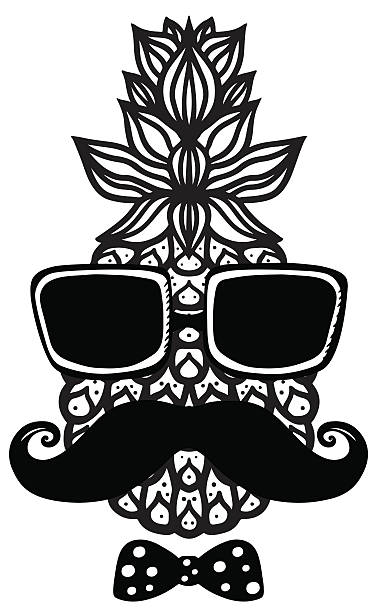 Best Pineapple Sunglasses In Black And White Illustrations ...