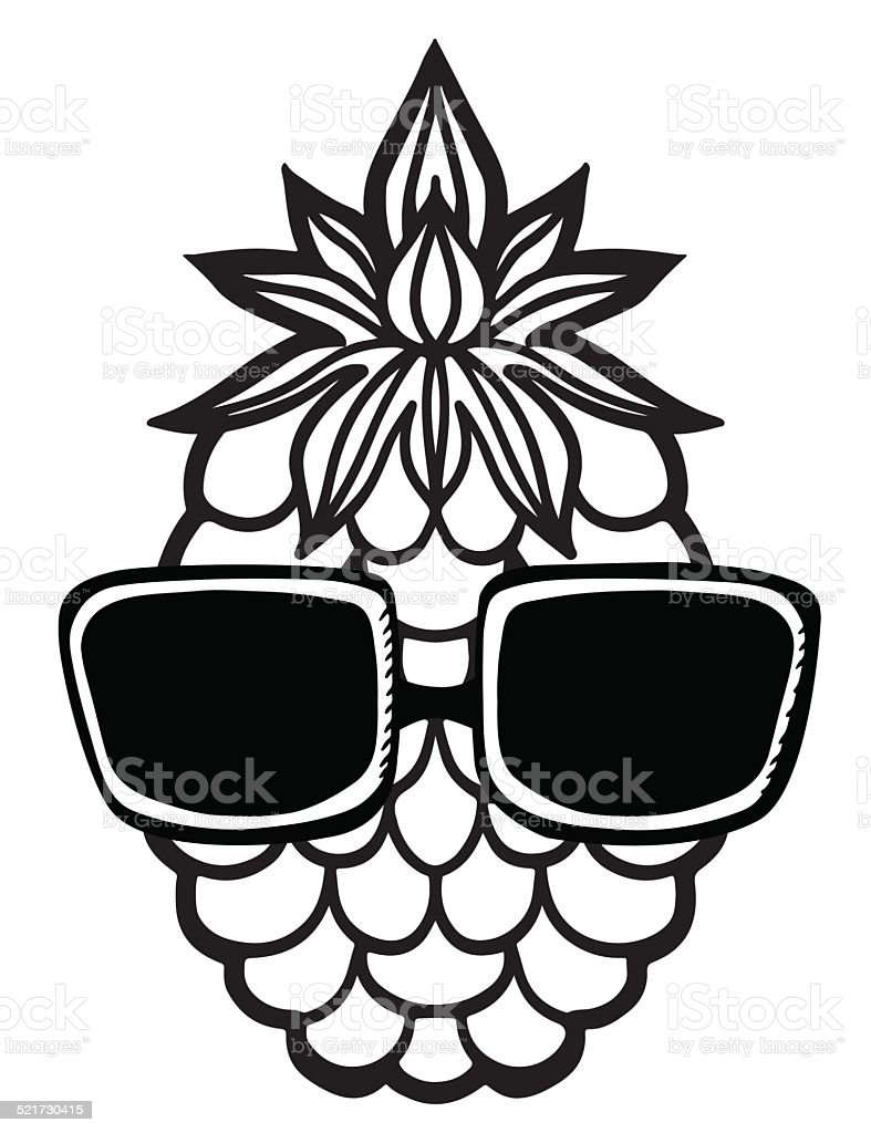 Pineapple Sunglasses In Black And White Stock Vector Art  for Clipart Pineapple Black And White  111ane