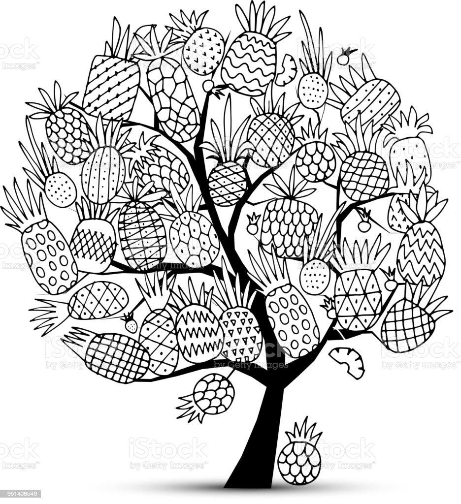 ananasbaum skizze für ihr design stock vektor art und mehr bilder