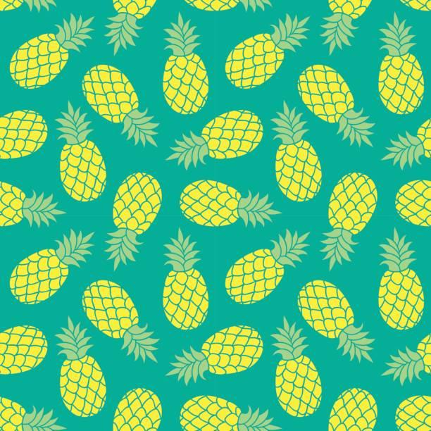 illustrazioni stock, clip art, cartoni animati e icone di tendenza di pineapple vector background. summer colorful tropical textile print. - ananas