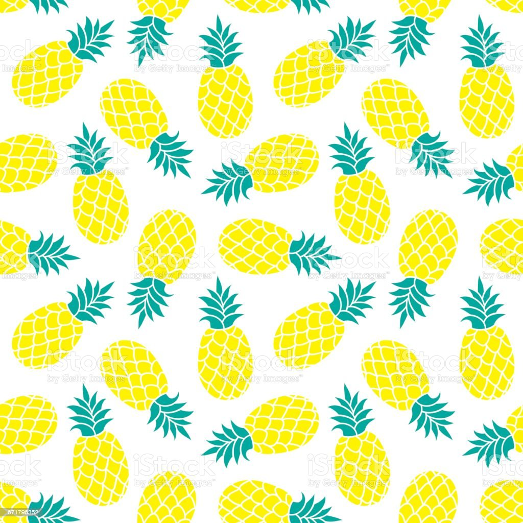 Pineapple Vector Background Summer Colorful Tropical Textile Print Royalty Free